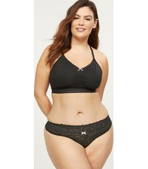 lane bryant women's stretch lace thong panty 18/20 black