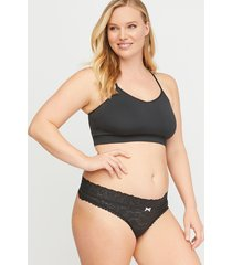 lane bryant women's stretch lace thong panty 4/6 black