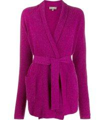 n.peal shawl collar belted cardigan - purple