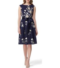 women's tahari embroidered fit & flare lace dress