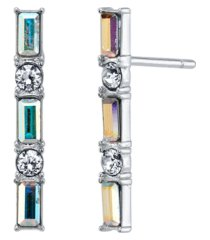 david tutera fine silver plated clear and iridescent crystal post stud bar earrings by david tutera everyday celebrations