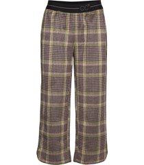 pants in checked scuba w. cc logo w wijde broek bruin coster copenhagen