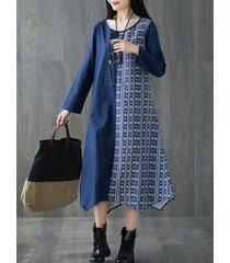 abito a maniche lunghe irregolare con ricamo patchwork stampa etnica