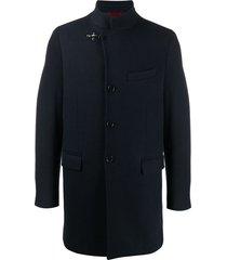 fay wool mix duffle jacket - blue
