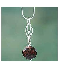 mahogany obsidian pendant necklace, 'fruit of the earth' (peru)