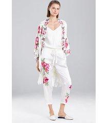 lily embroidery pants pajamas, women's, white, 100% silk, size l, josie natori
