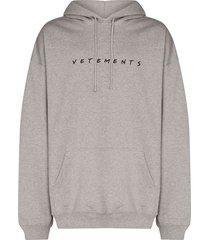 grey friendly logo hoodie
