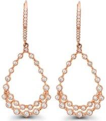 macy's cubic zirconia bezel 14k rose gold diamond cut pear shaped earrings