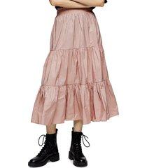 women's topshop tiered taffeta midi skirt