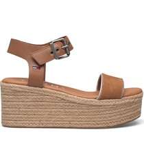 essential flatform sandal sandalette med klack espadrilles brun tommy hilfiger