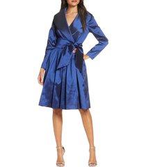 women's tahari long sleeve stretch taffeta wrap dress, size 12 - blue