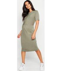 maternity knot front tshirt midi dress, khaki