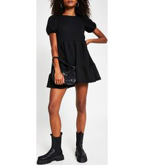 river island womens black short puff sleeve quilted smock dress