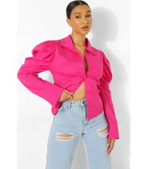 blouse met schoudervulling, hot pink