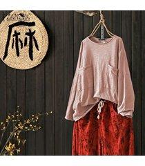 zanzea plus s-5xl de las mujeres de manga larga tapas de la camisa de la blusa bolsillos patchwork sólido suelto tee -rosado