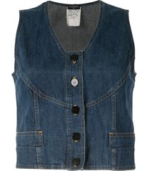 chanel pre-owned stitched detailing buttoned denim top - blue