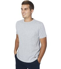camiseta sólida básica color siete para hombre - gris