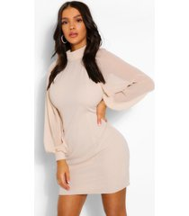 high neck balloon sleeve mini dress, nude