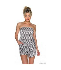 hotpants-jumpsuit wit / zwart