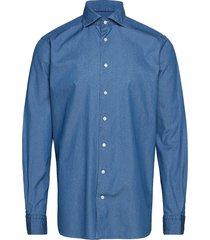 lightweight denim shirt - contemporary fit overhemd business blauw eton