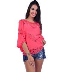 blusa bali beach ombro a ombro rosa