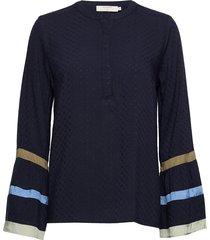 neaveahcr shirt blouse lange mouwen blauw cream
