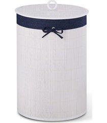 cesto de roupa redondo em bambu bencafil 35x20cm branco/jeans