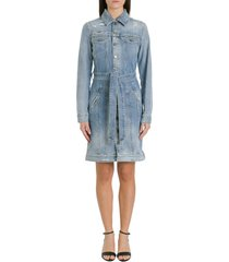 givenchy destroyed denim pinafore dress with belt