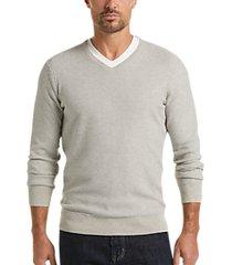joseph abboud staycool gray modern fit v-neck sweater