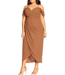 plus size women's city chic entwine ruched dress, size large - brown