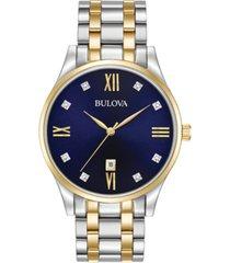 bulova men's diamond accent two-tone stainless steel bracelet watch 40mm 98d130