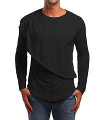 hombres otoño casual algodón liso asimétrico dobladillo diseño camiseta