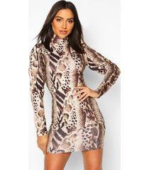 leopard puff sleeve bodycon dress, brown
