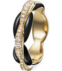 'ada' diamond 18k gold enamel accent ring