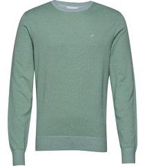 cotton silk c-neck sweater stickad tröja m. rund krage grön calvin klein