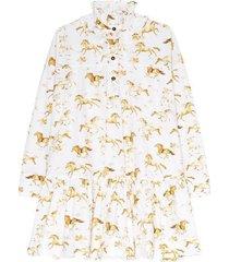 oversized jurk van popeline met print