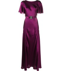 alberta ferretti belted long silk dress - purple