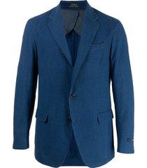 polo ralph lauren seersucker single-breasted sport coat - blue
