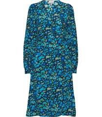 silk mix wrap dress knälång klänning blå ganni