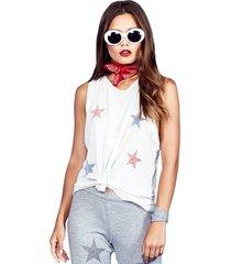 peyton color mini stripe stars high neck tank - l lunar grey