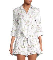 saks fifth avenue women's floral-print shirt - white - size s