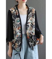 camicetta patchwork con coulisse scollo a v stampata vintage per donna