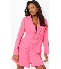 oversized wikkel boyfriend blazer jurk, hot pink