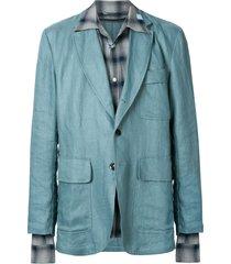 maison mihara yasuhiro relaxed linen blazer - blue