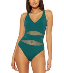 bleu by rod beattie crisscross mesh one-piece swimsuit women's swimsuit