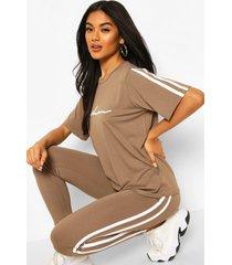 high waist double side stripe legging, mocha