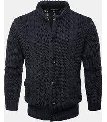 mens brief style sweatershirt monopetto a tinta unita lavorato a maglia cardigan casual