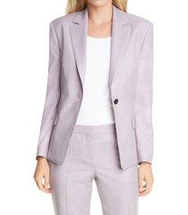petite women's boss janera wool blazer, size 2 p - pink