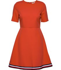 angela glb stp dress ss knälång klänning orange tommy hilfiger