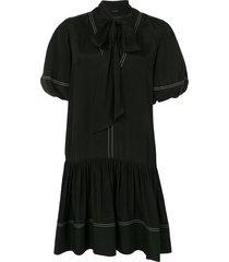 goen.j neck-tied flared dress - black